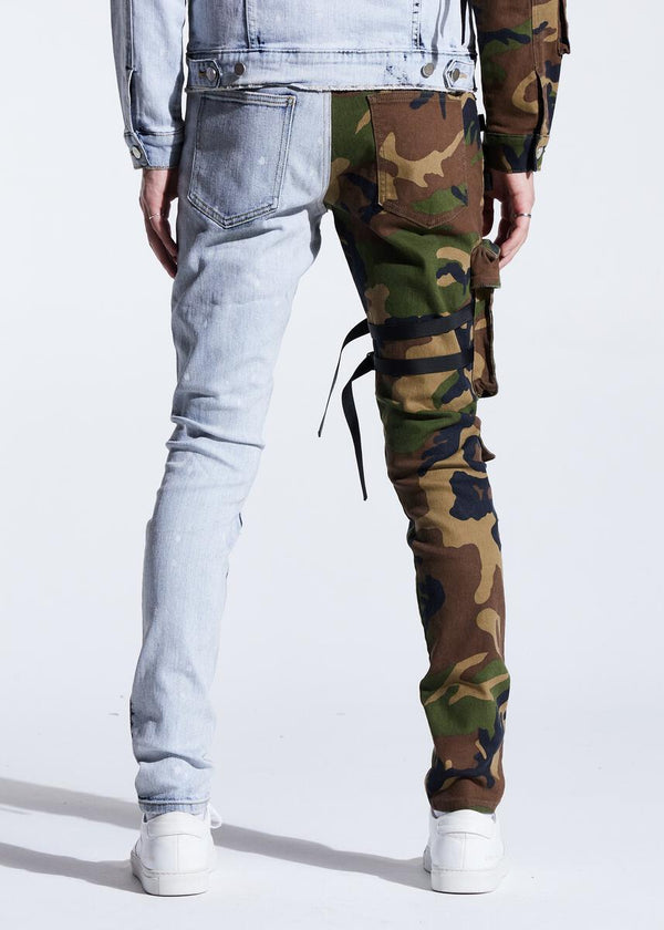 Embellish NYC-Ander Cargo Denim-Split Camo Blue