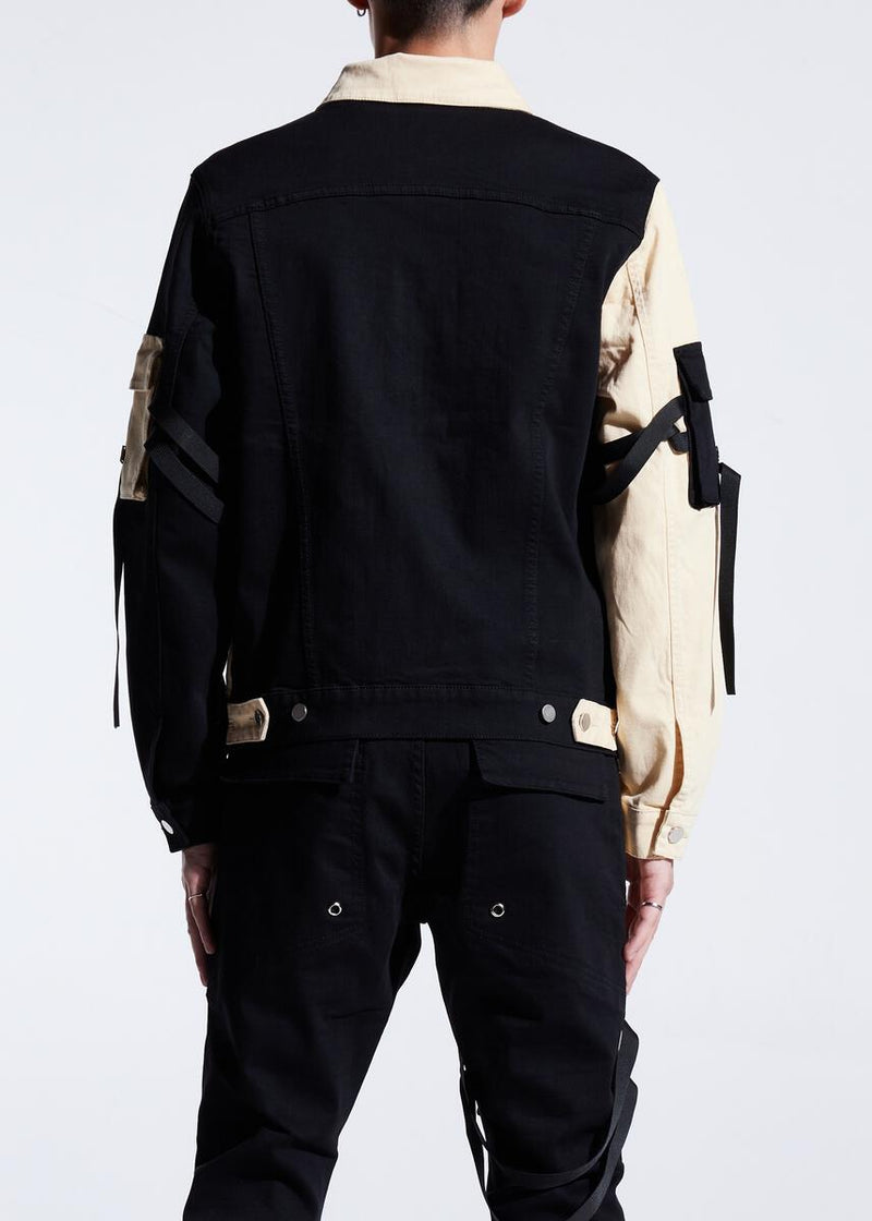 Embellish NYC-Bandit Denim Jacket-Split Black/Cream