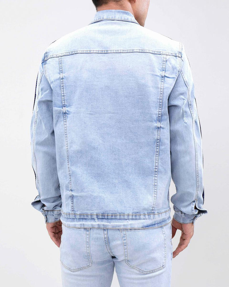 Eternity-Royal Blue Stone Taped Denim Jacket-Light Wash