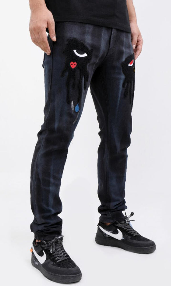 Roku Studio-Tear Drip Denim Pants-Black Cloud