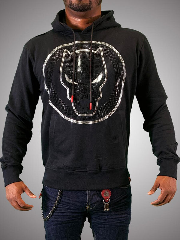 De Kryptic-Studded Black Panther Hoodie-Black