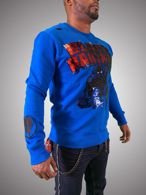 De Kryptic-Black Panther Crewneck Sequined-Blue