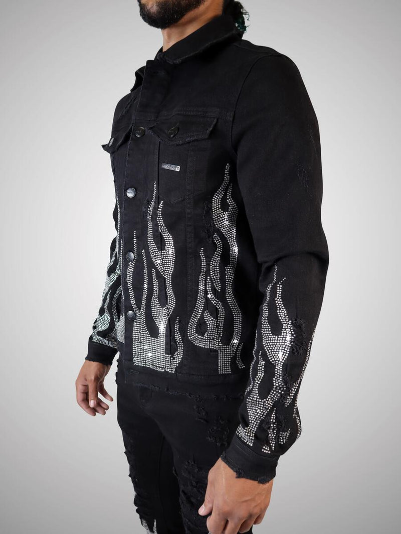 Preme Jeans-Silver Crystal Flame Denim Jacket-Black-PR-WJKT-103