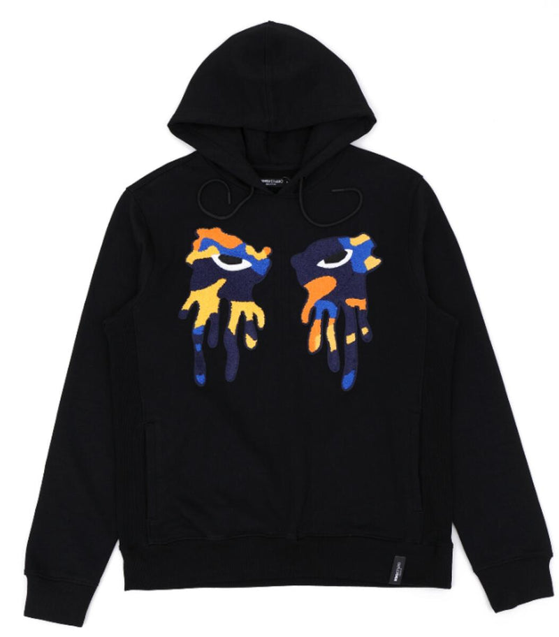 Roku Studio-Orange Camo Tear Drip Hoodie-Black