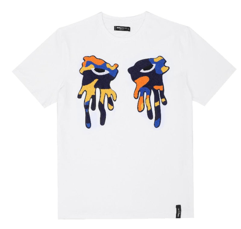 Roku Studio-Orange Camo Tear Drip Tee-White