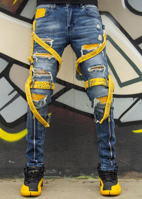 Locked & Loaded-Strap and Stones Denim-Blue/Yellow