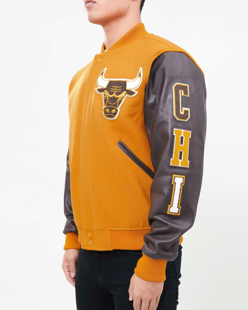 Pro Standard-Chicago Bulls Logo Varsity Jacket-Brown