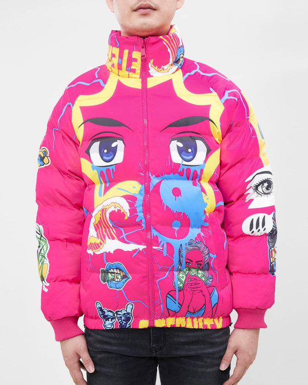 Eternity-Eyes Puffer Jacket-Hot Pink