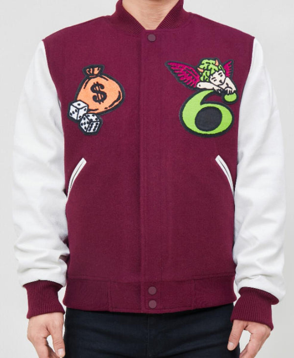 Roku Studio-6 Varsity Jacket-Wine/White