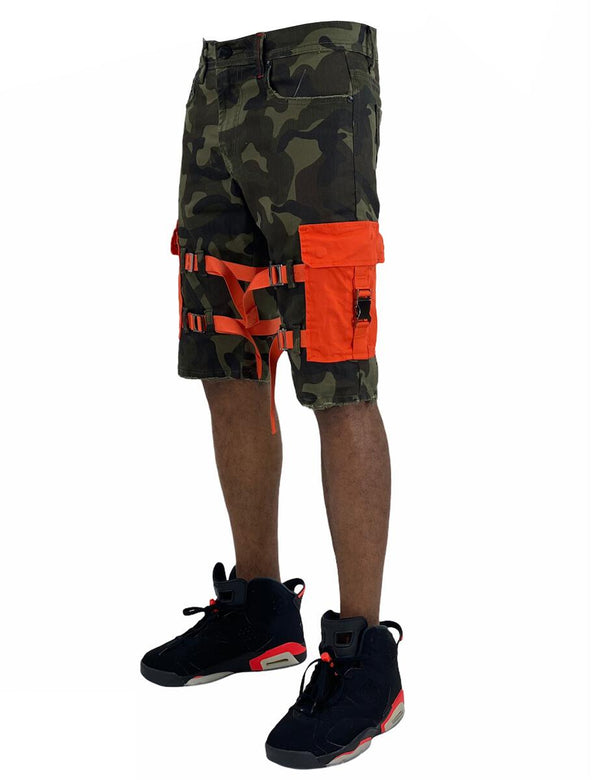 Preme-The Traveler Green Camo Twill Cargo Shorts-Woodland