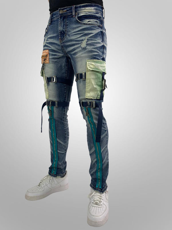 Preme-Multi Colored Cargo-Indigo