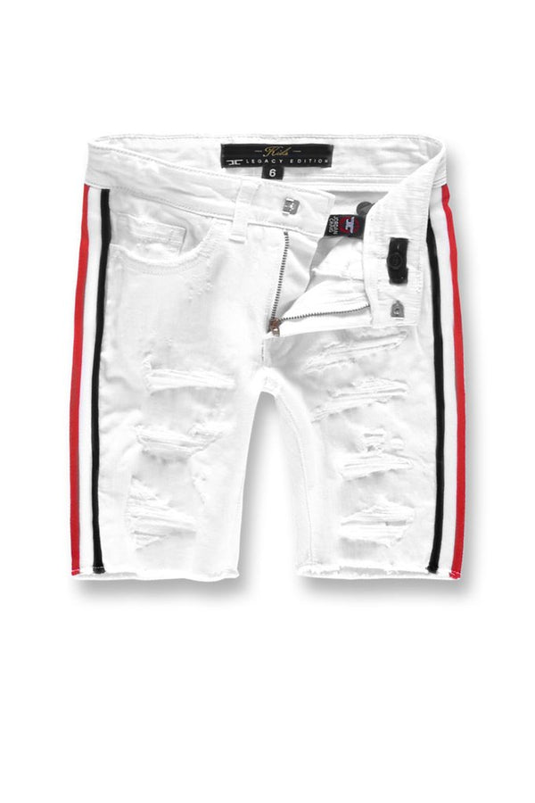 Joradan Craig Kids-Daytona Striped Shorts-White-J3157SAK