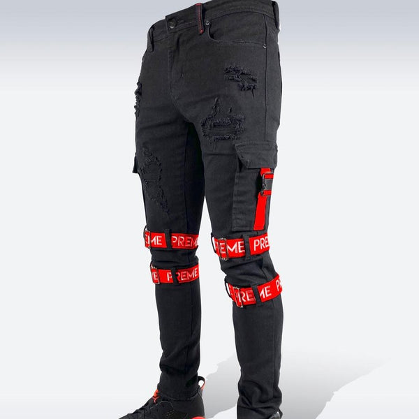 Preme Jeans-Logo Strap Denim Jeans-Black/Red-PR-WB-590