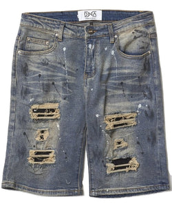 DNA-Jean Shorts With Black Stones-Medium Wash
