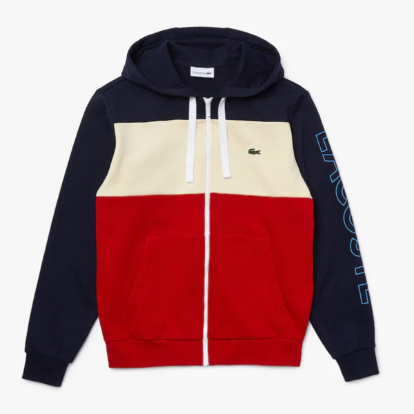 LaCoste-Hooded Colourblock Fleece Zip SweatSet-Red/Beige/Navy Blue