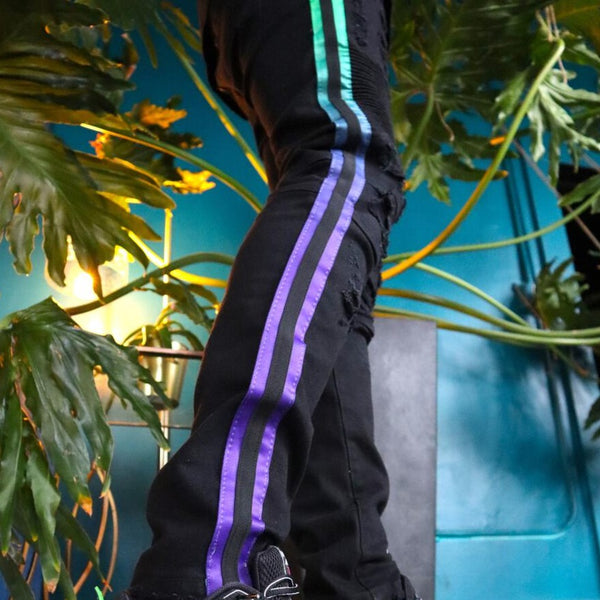 Preme Jeans-Teal/Purple Faded Striped Motto Jeans-Black