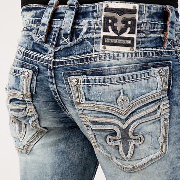 Rock Revival-Wood Ash Alt Straight Jeans-Acid Wash