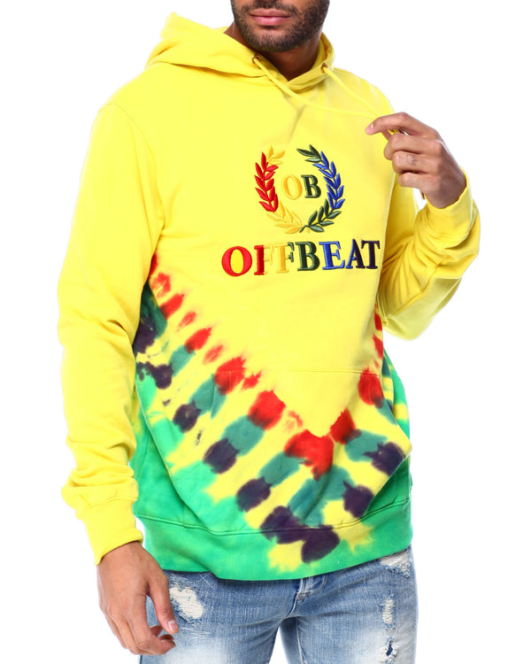 OffBeat-Embroidered Tie Dye Hoodie-Yellow-OF14
