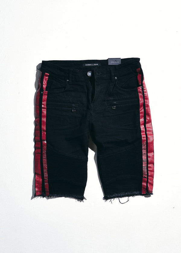 Embellish-Bolt Biker Shorts-Red/Black