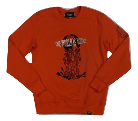 Denimicity-The World Is Yours Crewneck-Orange/Black