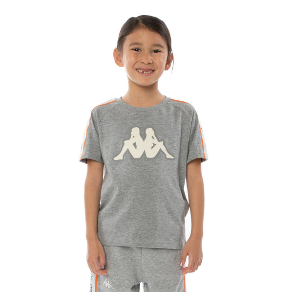 Kappa Kids-Logo Tape Asved Tee-Grey White Rock