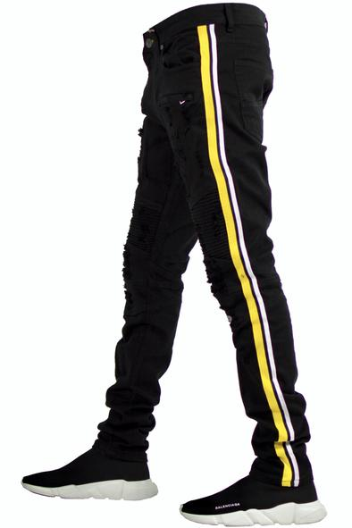 Focus Jean-Black/White/Yellow Motto Jeans-Black