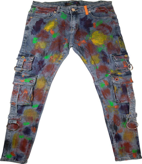 Pheelings-Auhl Aologne Cargo Pants-Blue Multi Paint