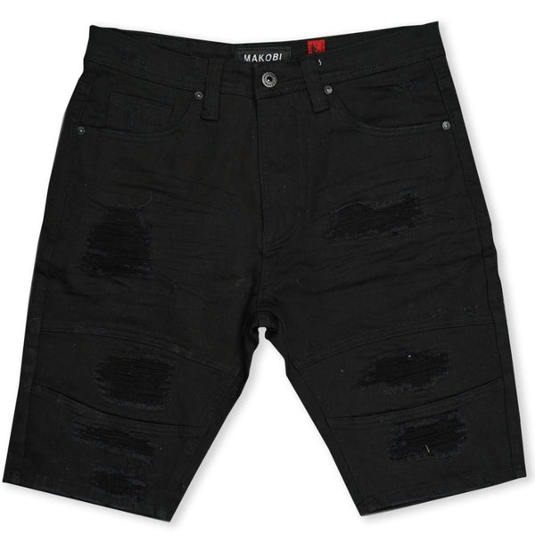Avlaki Shredded Twill Shorts-Black