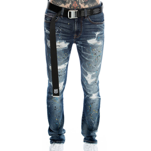 Cult of Individuality-Punk Super Skinny Stretch Belted-Drip-620B11-SS06D