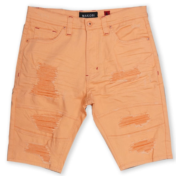 Avlaki Shredded Twill Shorts-Peach