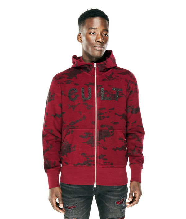 Cult Of Individuaity-Split Zip Camo-BURGUNDY-69B11-ZS53B