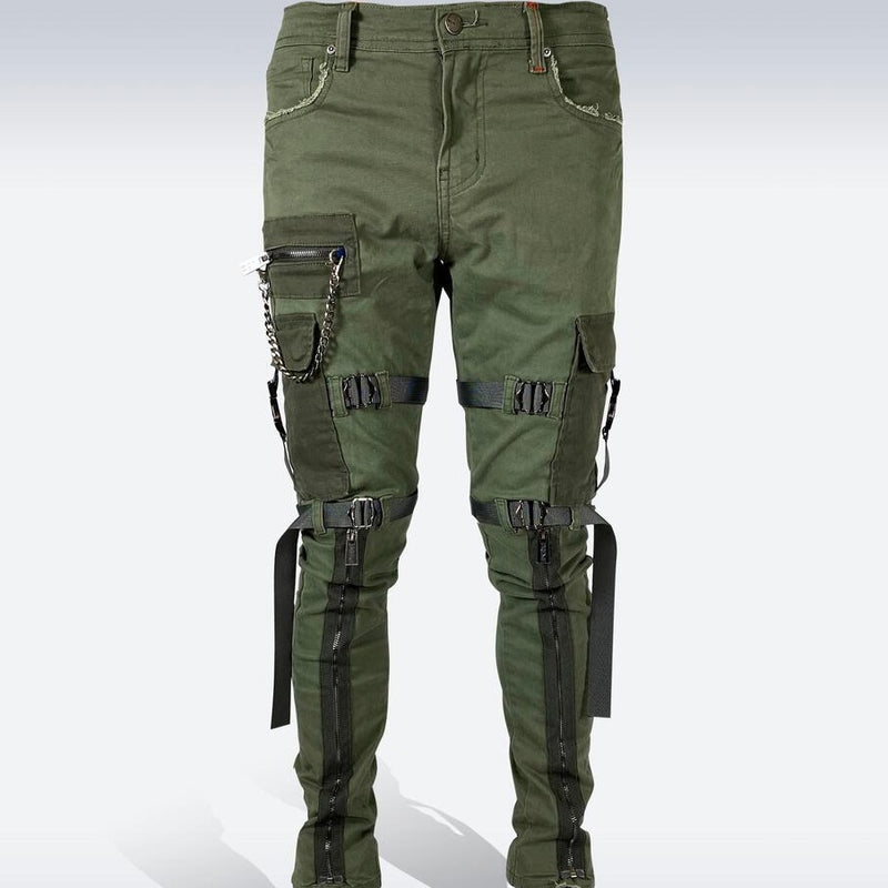 Preme Jeans-Strapped Cargo Jeans-Olive-PR-WB-535
