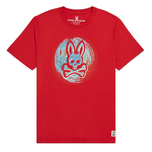 Psycho Bunny Kids-Boys Downey Graphic Tee-Red