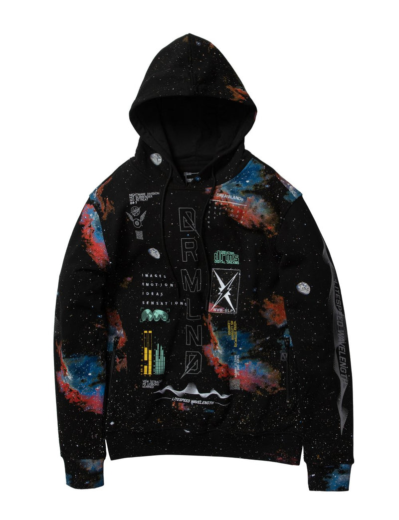 Dream Land-Soundwave Fleece Hoodie-Black