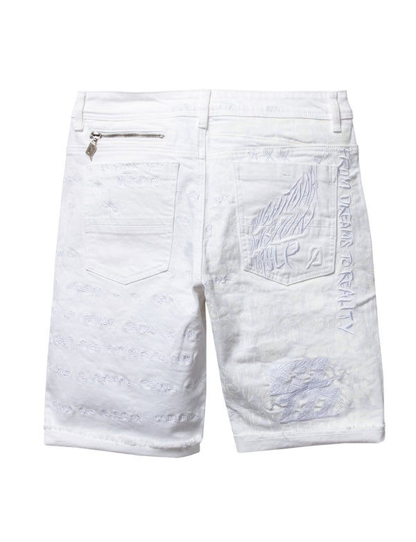 Dreamland-Verses Denim Shorts-White