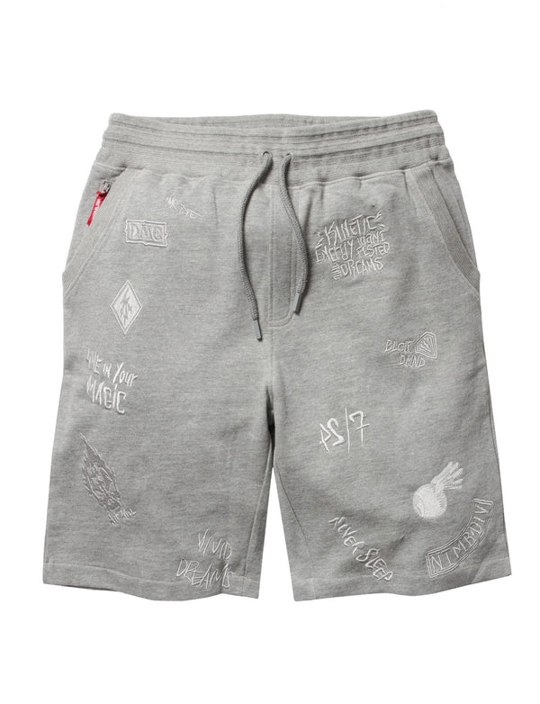 Dreamland-Vivid Loopback Shorts-Grey