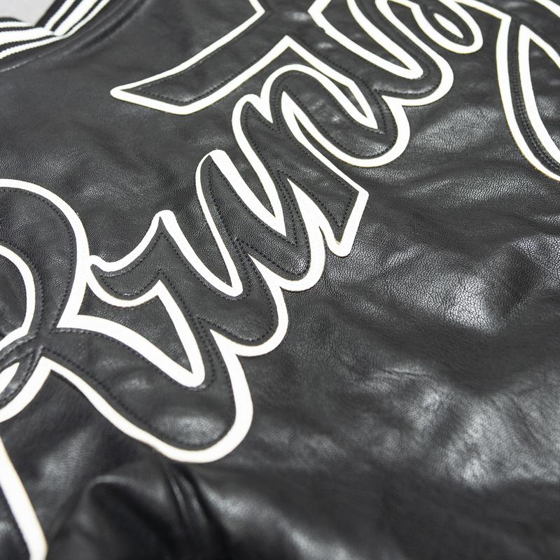 Runtz-Scripted Leather Varsity Jacket-Black