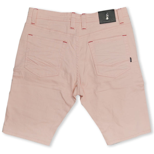 Avlaki Shredded Twill Shorts-Pink