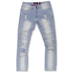 Makobi-Cape Biker Jeans W/Paint Splash-LT.Wash