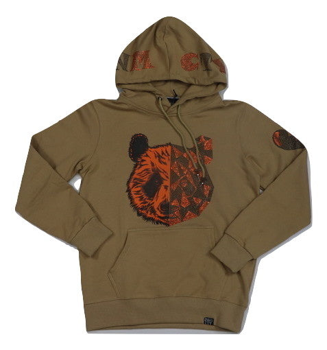 Denimicity-Split Bear Hoodie-Tan/Orange