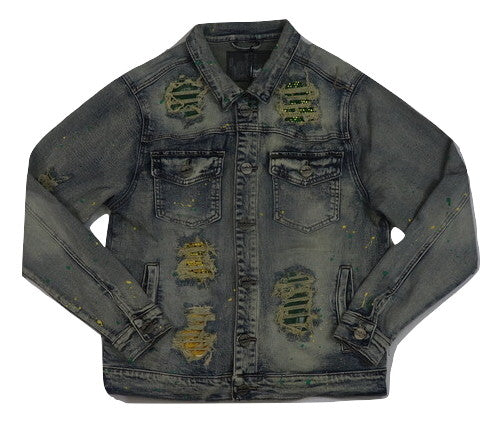 Denimicity-Patch & Stones Denim Jacket-Vintage Blue