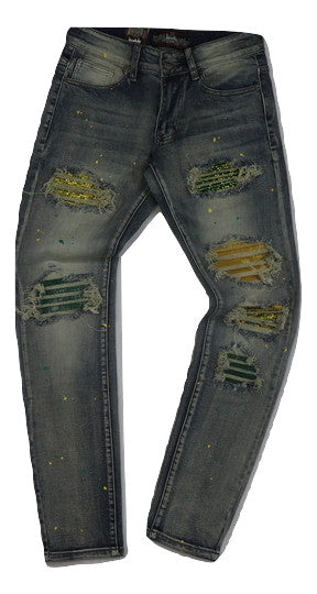 Denimicity-Patch & Stones Denim Jeans-Vintage Blue