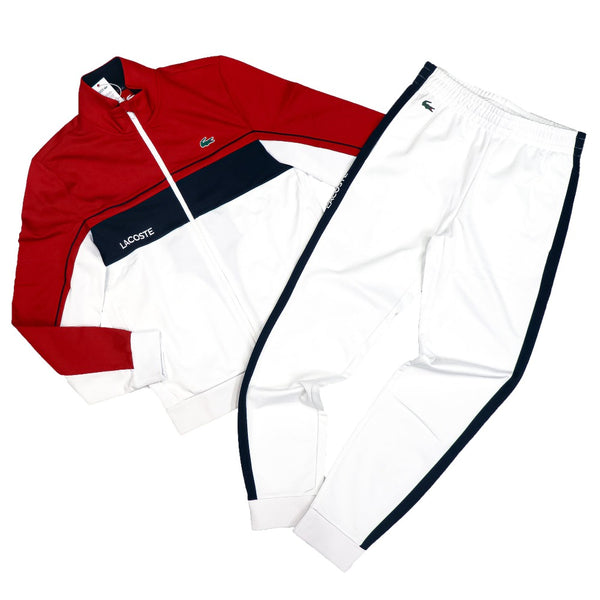 LaCoste-SPORT Resistant Colourblock Piqué Zip Sweatshirt-Red/White/Navy Blue/White•4HU-SH9543