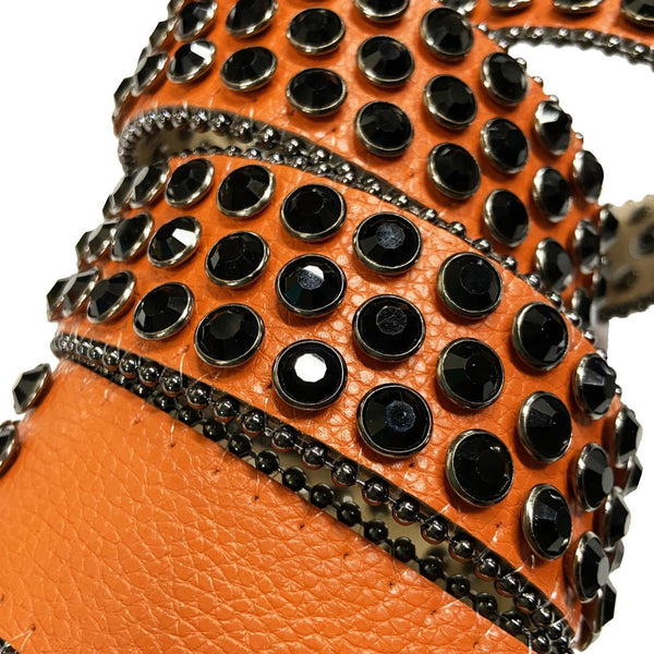 DNA Belt-Orange/Black Stones-Orange