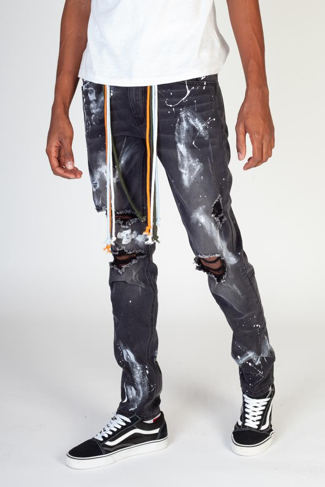 KDNK-Paint Splatter Jeans W/Multi Color Drawstring-Dark Grey