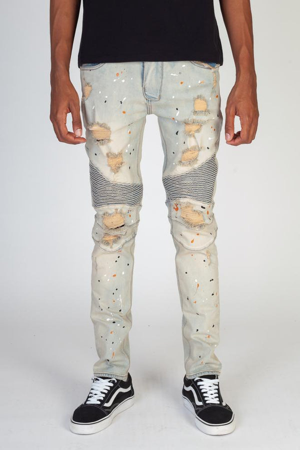 KDNK-Ripped Moto Jeans Multi Painted Splatter-Tinted Blue