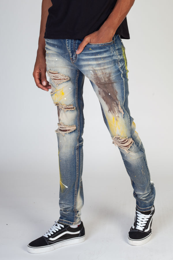 KDNK-Multi Painted Jeans-Blue-KND4299