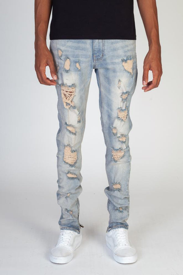KDNK-Multi-Distressed Jeans With Ankled Zippers-Blue
