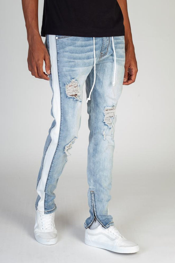 KDNK-Striped Track Jeans-Medium Blue