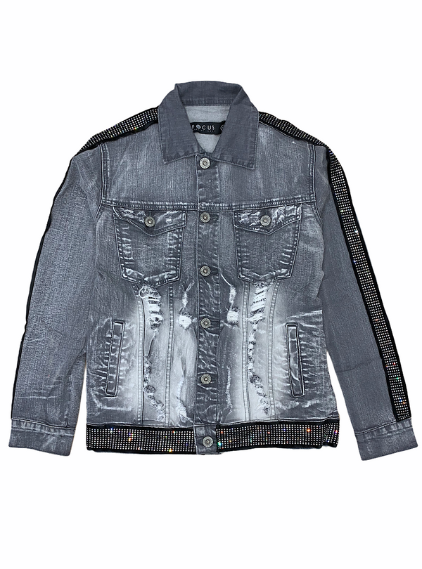 Focus Jeans-Studded Stripped Denim Jacket-Grey-3209-j